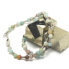 "collier amazonite brut , "" perle ronde 6 mm - perle argentée"""
