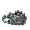 """collier jade , """" perle ronde 13 mm -vert marbré"""""""