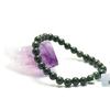"""bracelet jade , """" perle ronde 7 mm , vert très foncé"""""""
