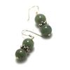 """boucle d'oreille jade , """" double rondes 9 mm -perles argentées"""""""