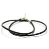 1 cordon pour pendentif en cuir rigide véritable ,noir, 3 mm