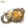 """collier quartz fumé """"galet baroque -perle ronde 6mm"""""""