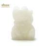 """Magnifique statuette """"chat de fortune"""" en pierre naturelle de jade blanc"""