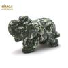 """Magnifique statuette """"éléphant"""" en pierre naturelle de jaspe vert"""