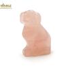 """Magnifique statuette """"chien""""  en pierre naturelle de quartz rose"""