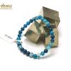 """Bracelet agate teinté bleu , perle """"ronde 6 mm"""""""