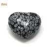 """Magnifique statuette """"coeur"""" en pierre naturelle d'obsidienne neige"""