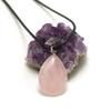 """pendentif/collier quartz rose """"goutte plate"""", pierre naturelle"""