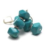 apprêt triple rondelle facettée boucle d'oreille en pierre naturelle de turquoise