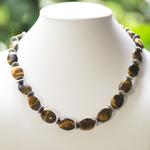 Apprêt palet ovale 1 collier en pierre naturelle de loeil du tigre