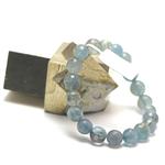 ronde 10 mm facettée bracelet en pierre naturelle d'aigue marine