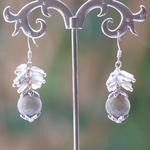 création grappe de raisin 2 perle ronde  boucle doreille en pierre naturelle de labradorite