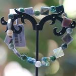 F carrée - perle ronde 1 bracelet en pierre naturelle dagate mousse