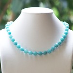 F ronde facettée 10 mm collier pierre naturelle damazonite