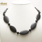 F palet oval  1 collier en pierre naturelle onyx