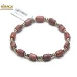 A tube-perle argentée tube bracelet en pierre naturelle de rodhonite