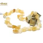 F galet brut collier long 1 en pierre naturelle de citrine