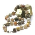 ronde 10 mm 1 collier en pierre naturelle d'agate bambou