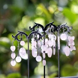 boucle d'oreille qu pierre naturelle de quartz rose