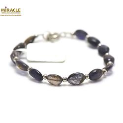 A palet oval perle argenté bracelet en pierre naturelle de iolite