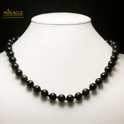 ronde 10 mm collier en pierre naturelle d'obsidienne