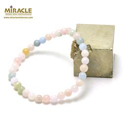 ronde 6 mm 1 bracelet en pierre naturelle de béryl morganite