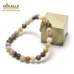 ronde 6 mm 1 bracelet en pierre naturelle d'agate bambou
