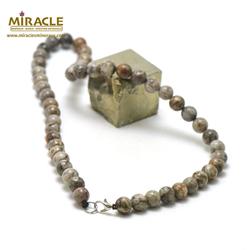 ronde 8 mm 1 collier en pierre naturelle d'agate fossile ou turitelle