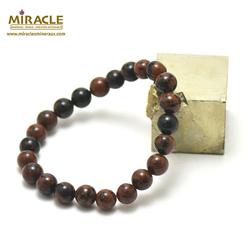 ronde 8 mm bracelet en pierre naturelle d'obsidienne acajou