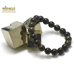 ronde 10 mm bracelet obsidienne doré