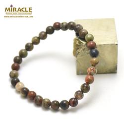ronde 6 mm 1 bracelet en pierre naturelle de rhyolite