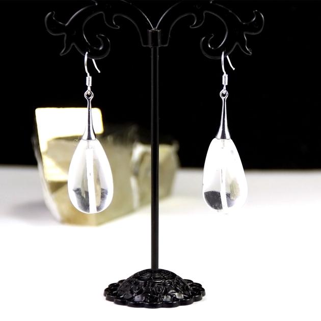 boucle d 39 oreille quartz galet goutte d 39 eau lustre boucle d 39 oreille cristal de roche. Black Bedroom Furniture Sets. Home Design Ideas