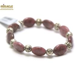 A palet oval-perle argentée bracelet en pierre naturelle de rodhonite