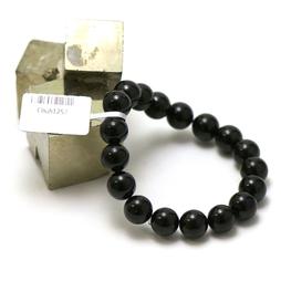 ronde 10 mm 1 bracelet en pierre naturelle de tourmaline noir