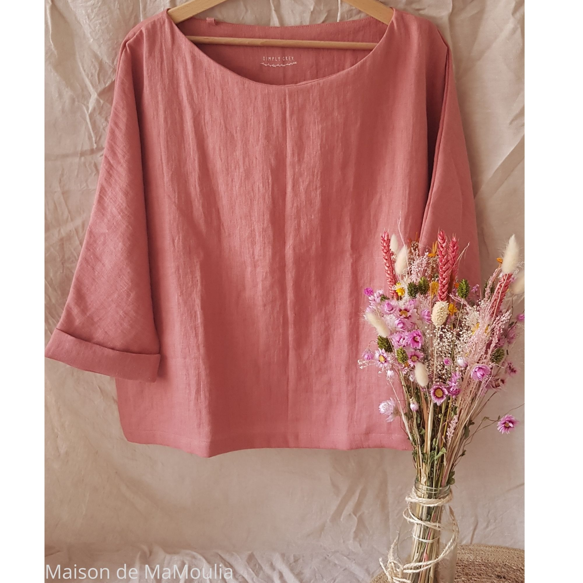 SIMPLY GREY - Blouse oversize - 100% lin lavé - Rose saumon