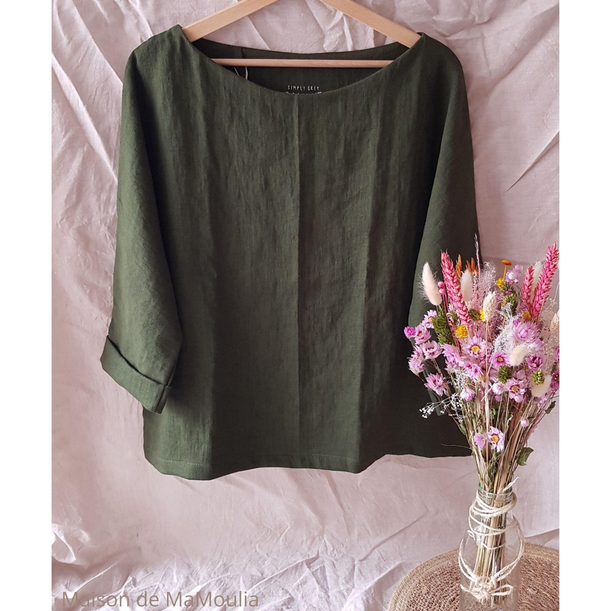 SIMPLY GREY - Blouse oversize - 100% lin lavé - Vert foret