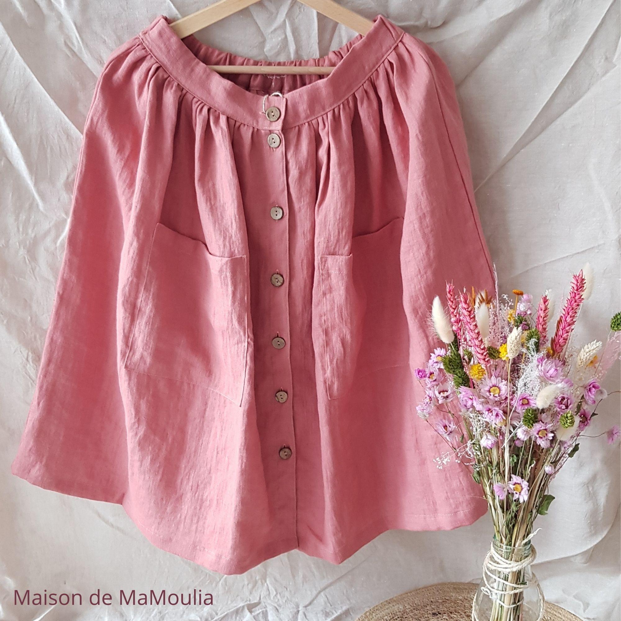 SIMPLY GREY - Jupe midi femme - 100% lin lavé - Rose - à boutons