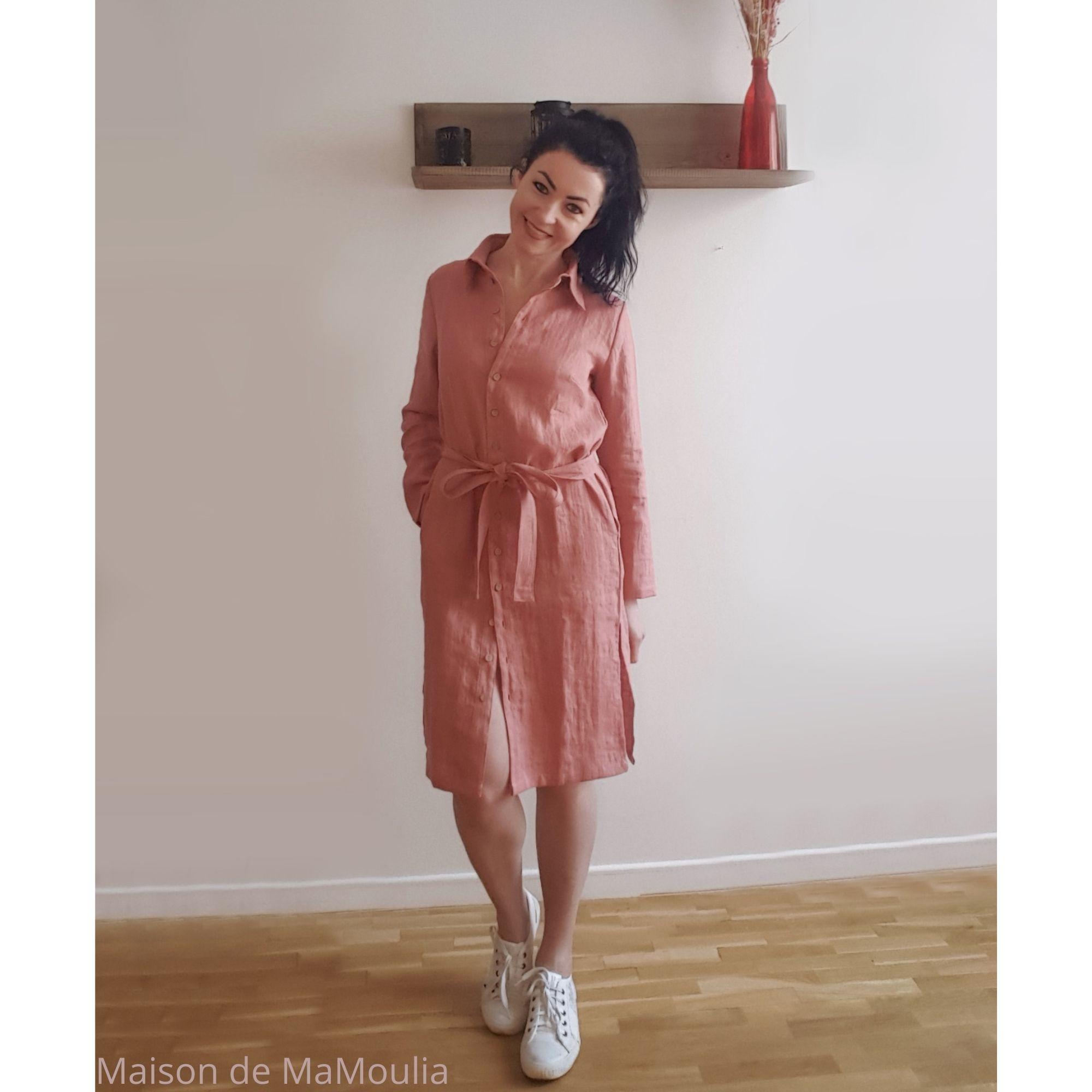 robe-chemise-femme-pur-lin-lave-simplygrey-maison-de-mamoulia-rose-centure
