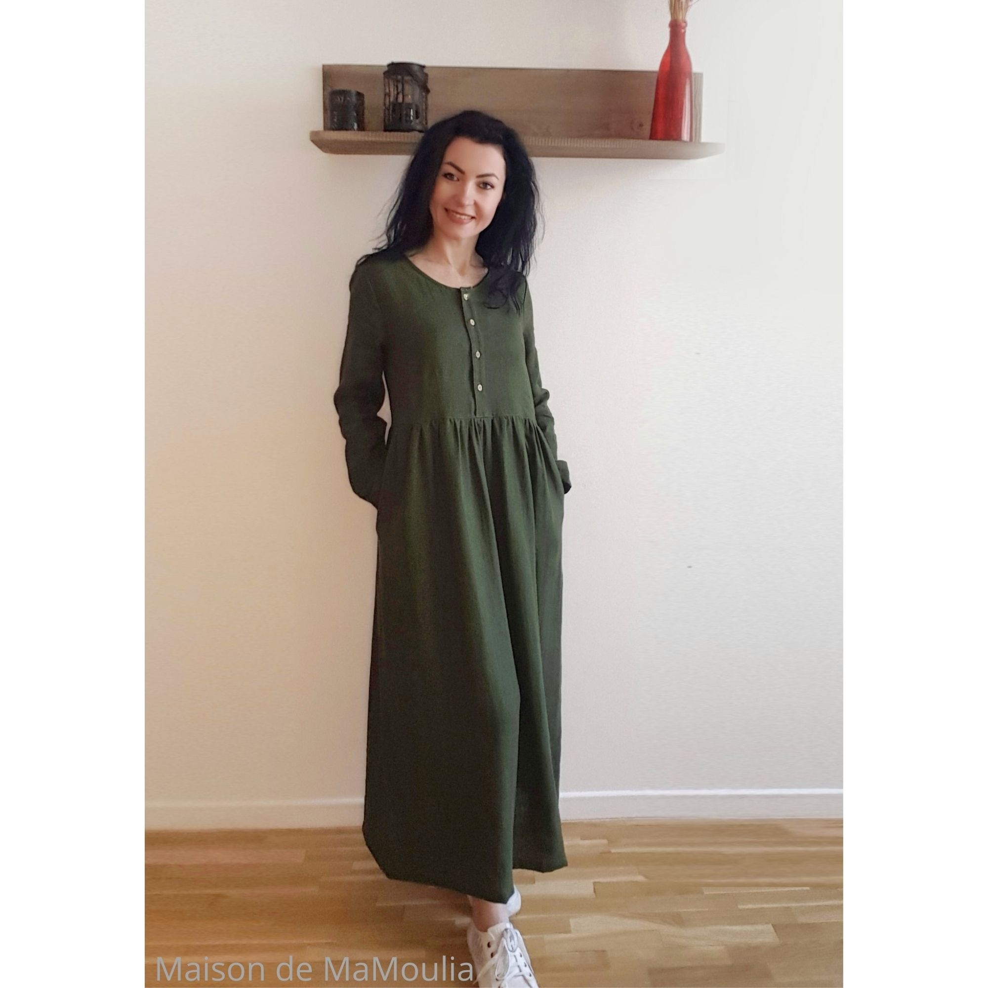 SIMPLY GREY - Robe très longue Boho femme - 100% lin lavé - Vert