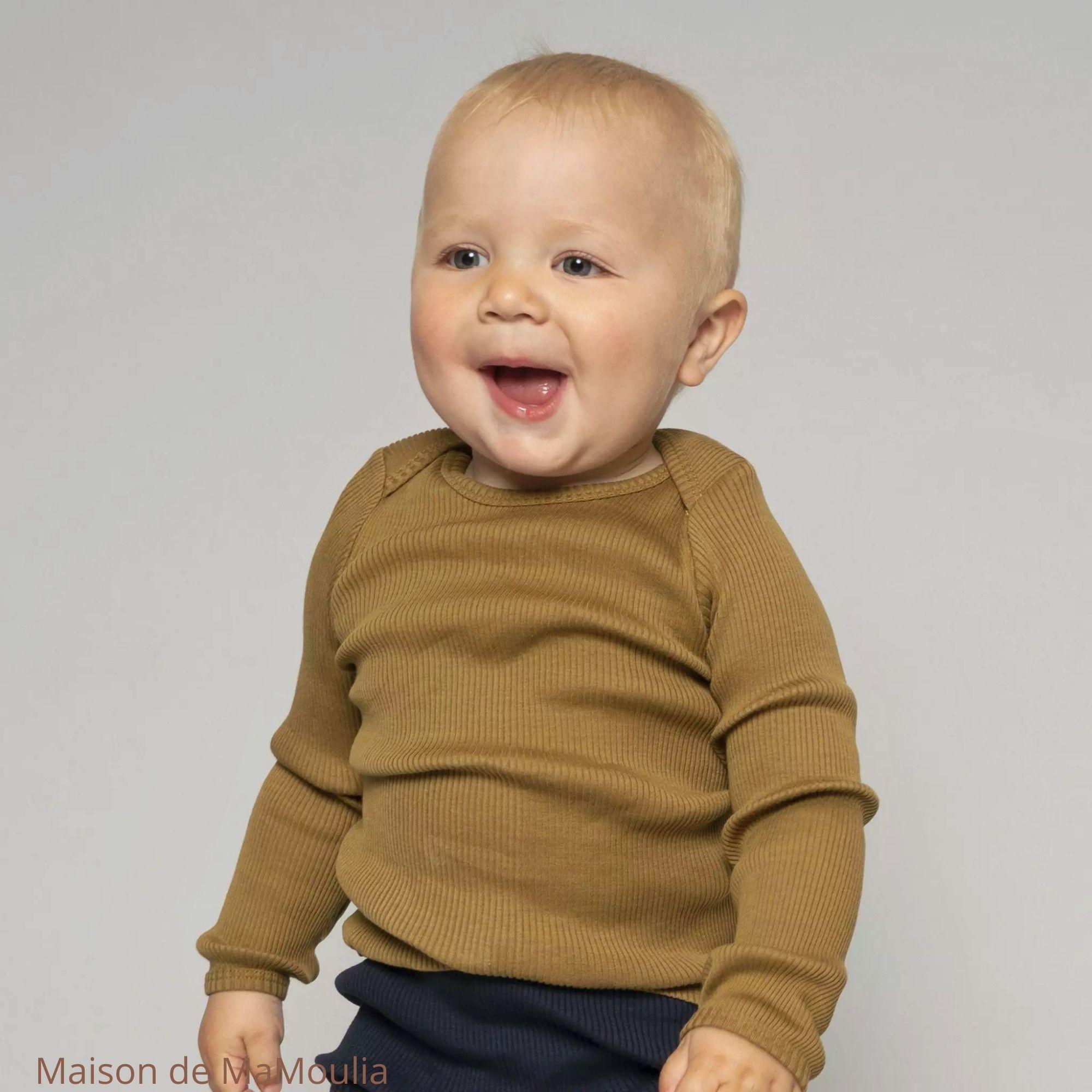 MINIMALISMA - T-shirt bébé - Soie 70%/coton 30% - Belfast-Seaweed