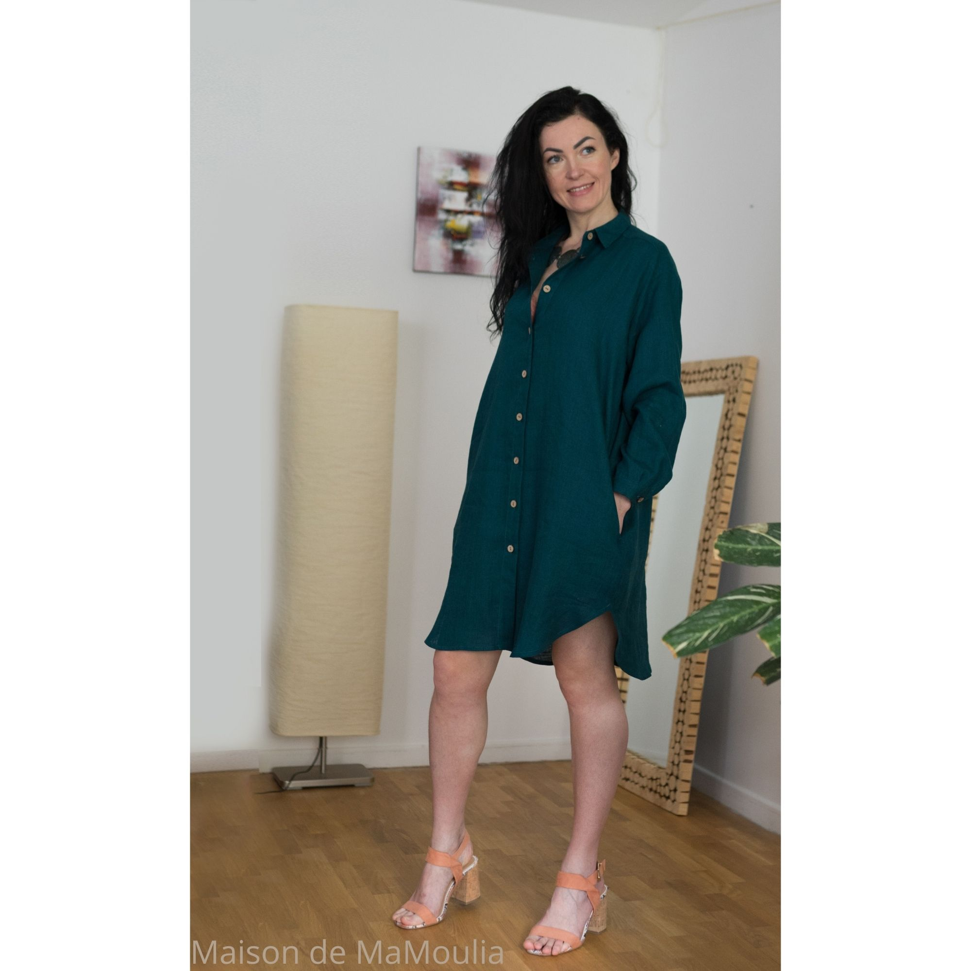 robe-chemise-femme-pur-lin-lave-français-offon-maison-de-mamoulia-turquoise-bleu-petrole-