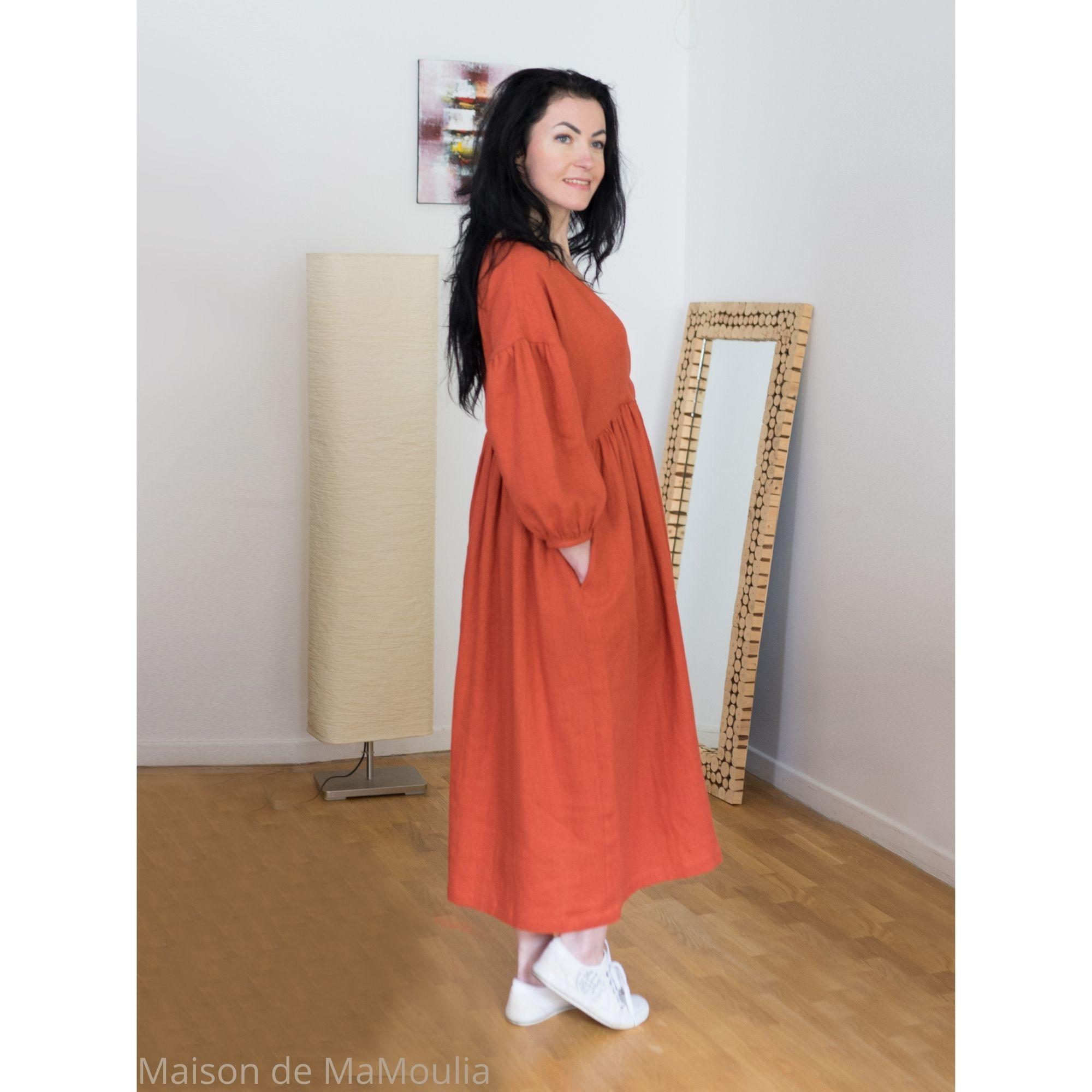 OFFON - Robe longue - col V - 100% lin lavé - Rouge brique