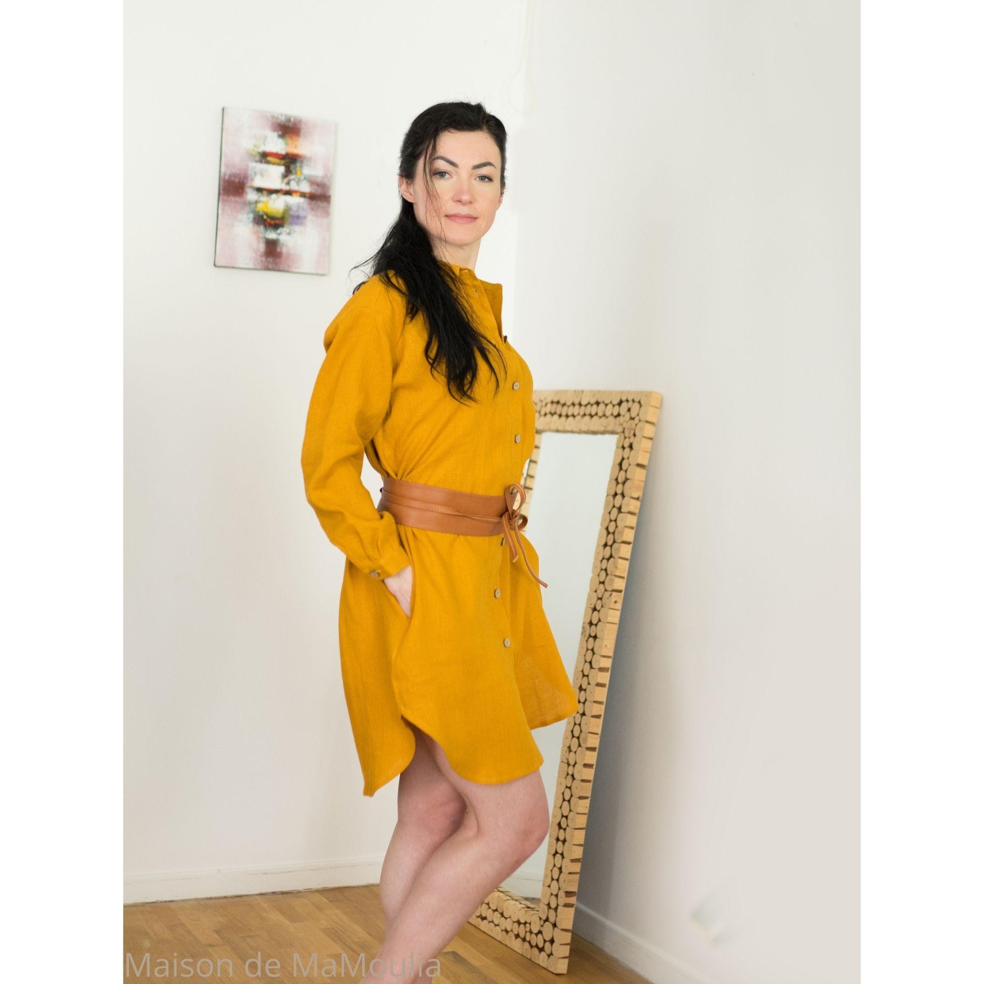 OFFON - Robe-chemise oversize - 100% lin lavé - Moutarde