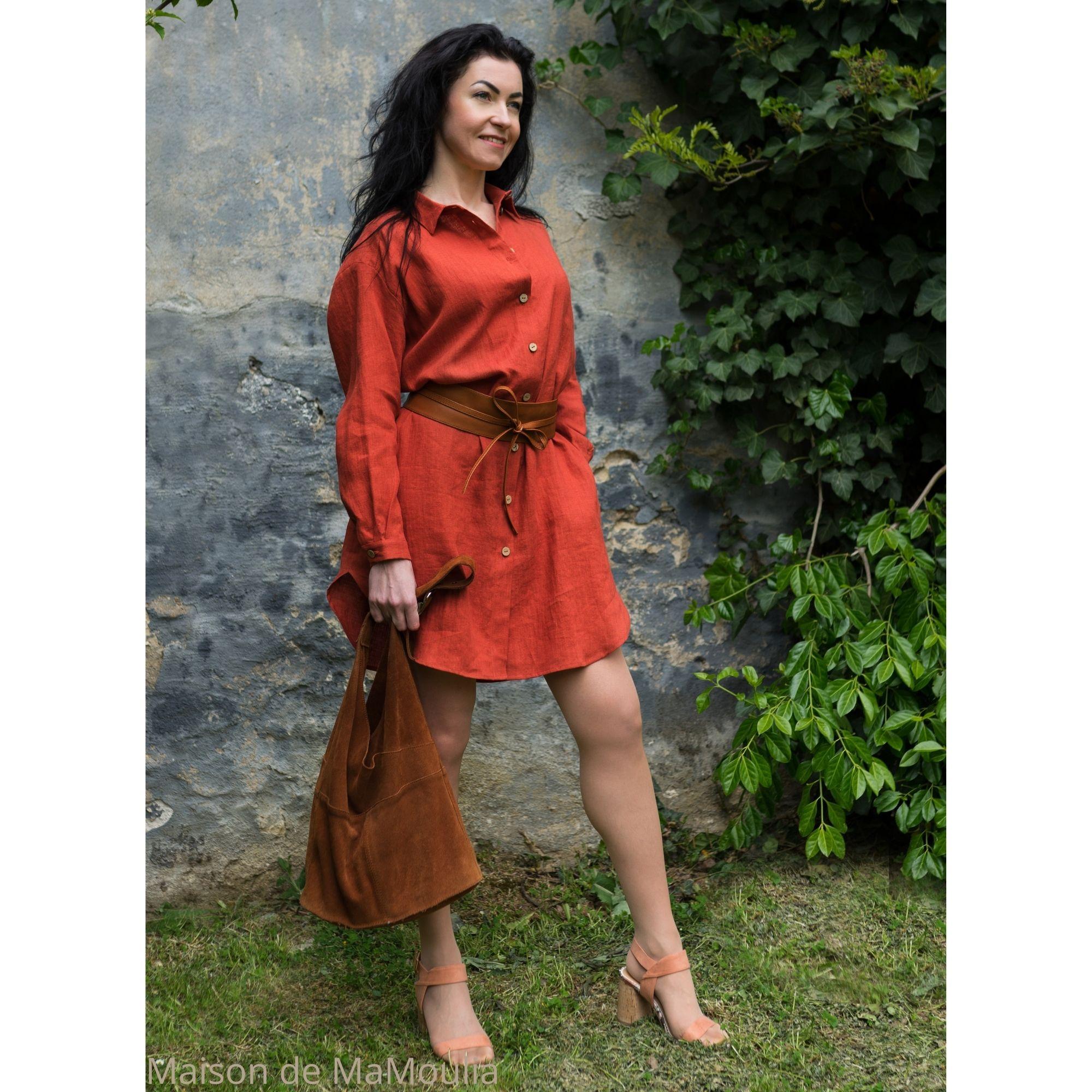 OFFON - Robe-chemise oversize - 100% lin lavé - rouge