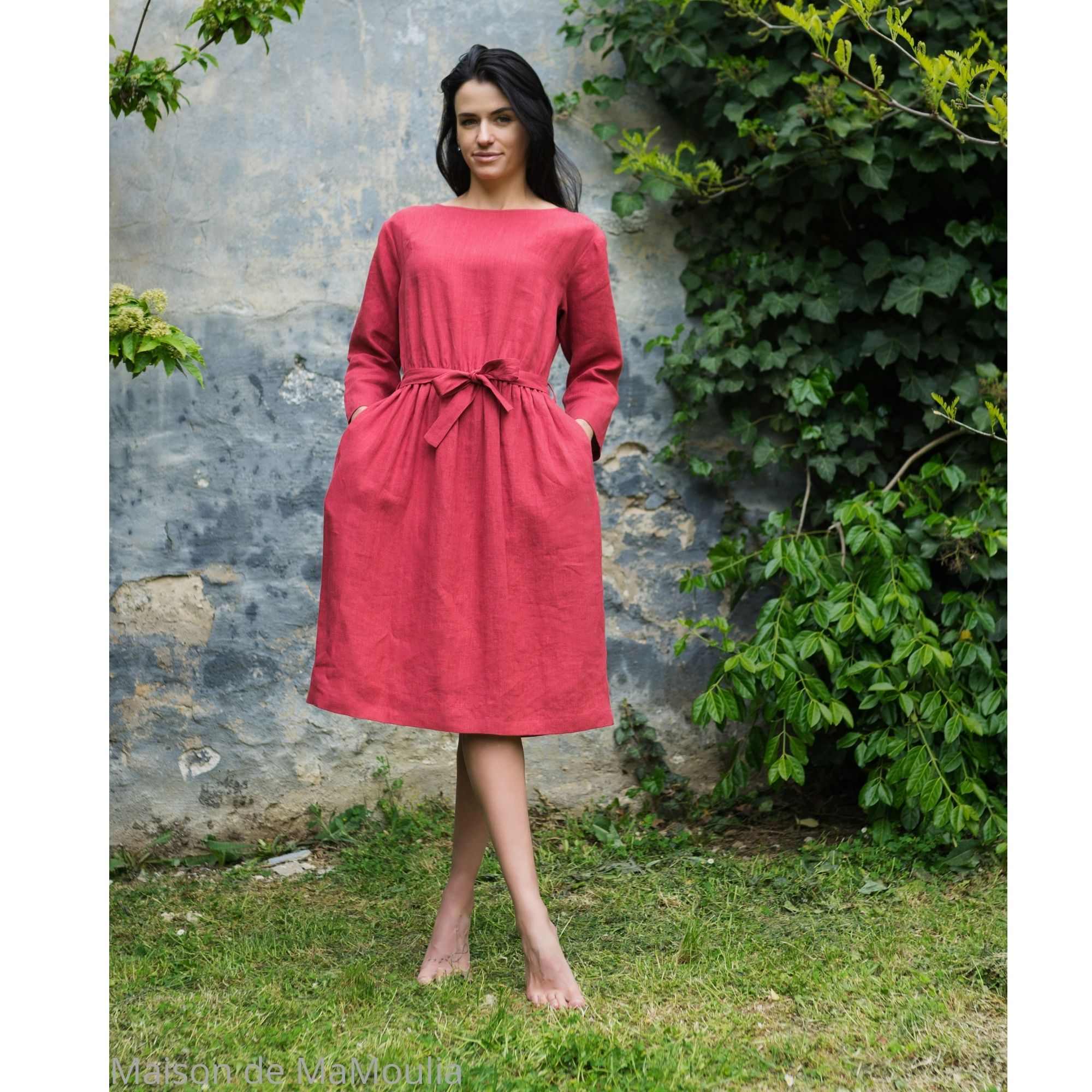 OFFON - Robe midi avec ceinture - 100% lin lavé - rose framboise