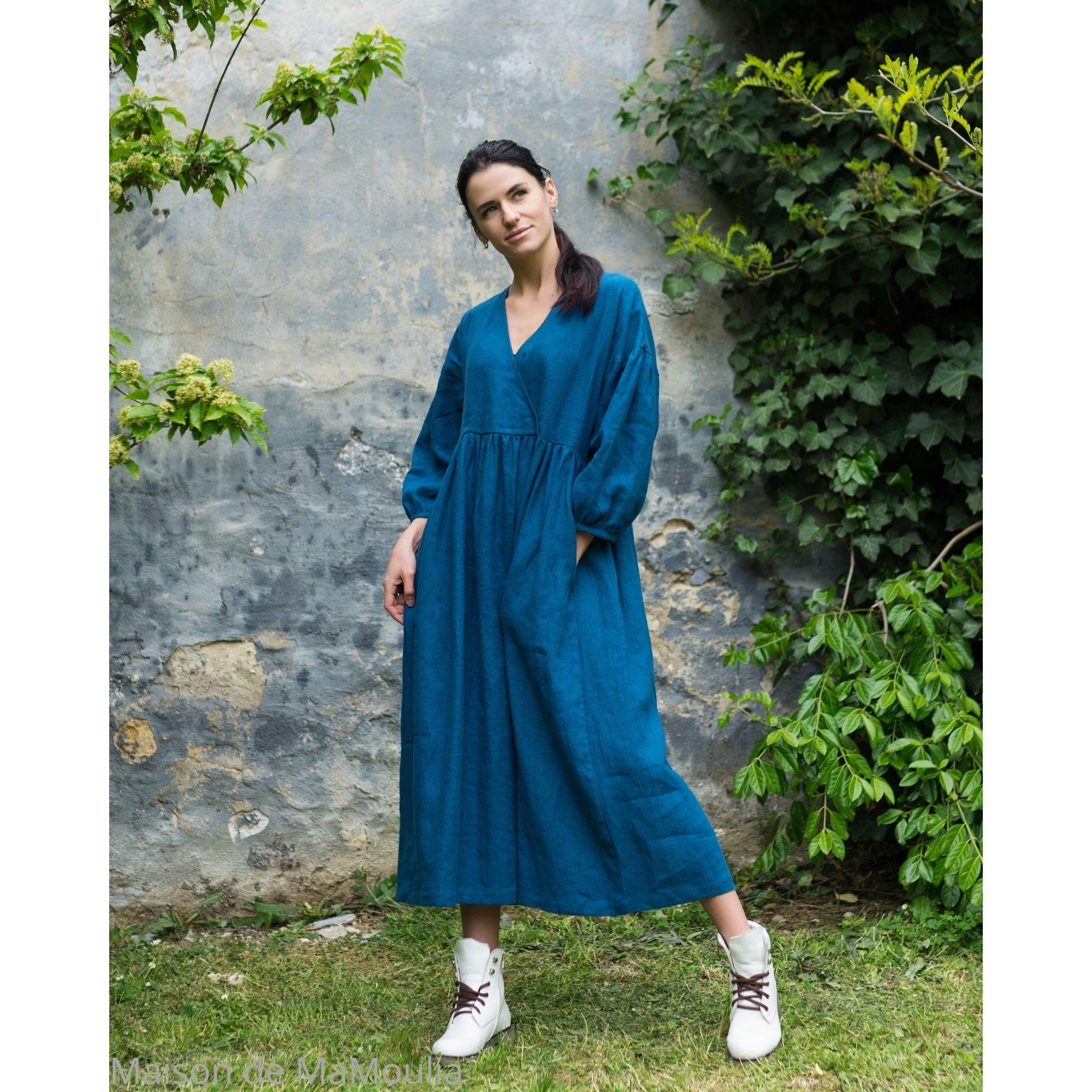 OFFON - Robe longue - col V - 100% lin lavé - bleu canard