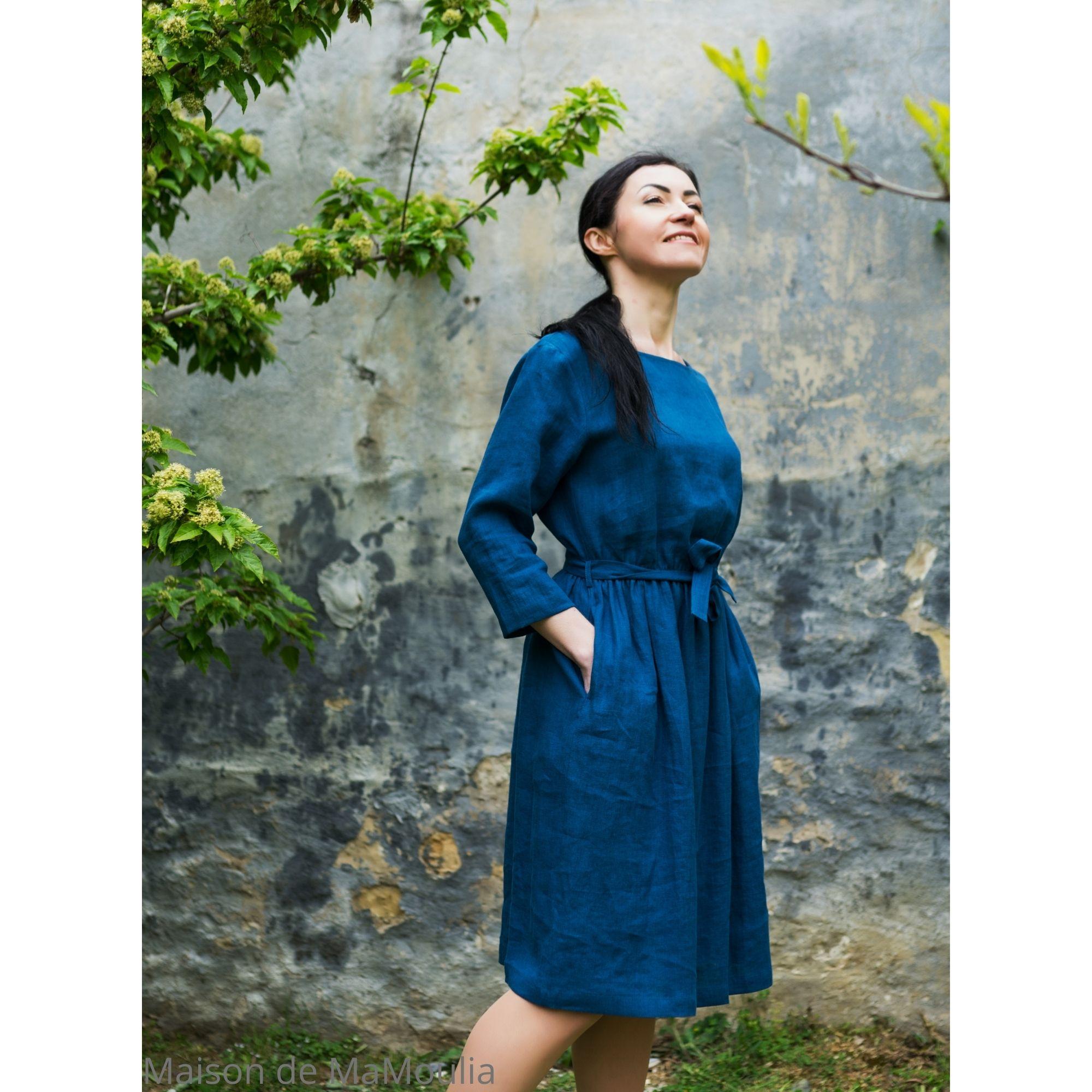 OFFON - Robe midi avec ceinture - 100% lin lavé - bleu canard