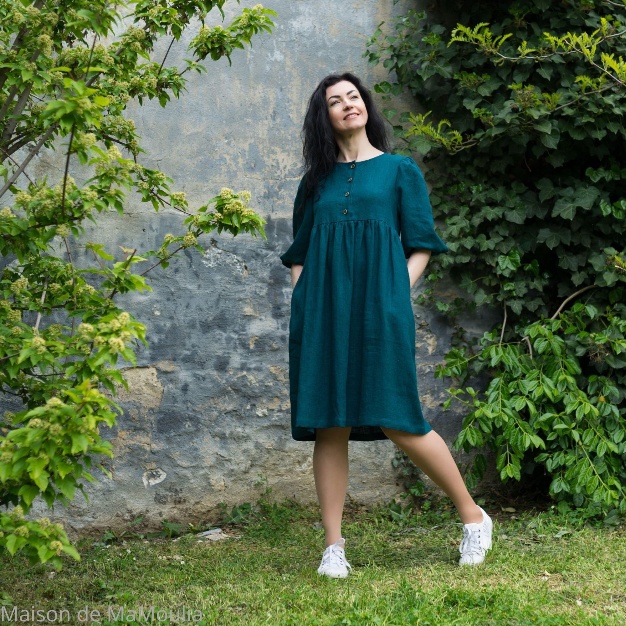 OFFON - Robe midi -manches ballon - 100% lin lavé-turquoise foncé