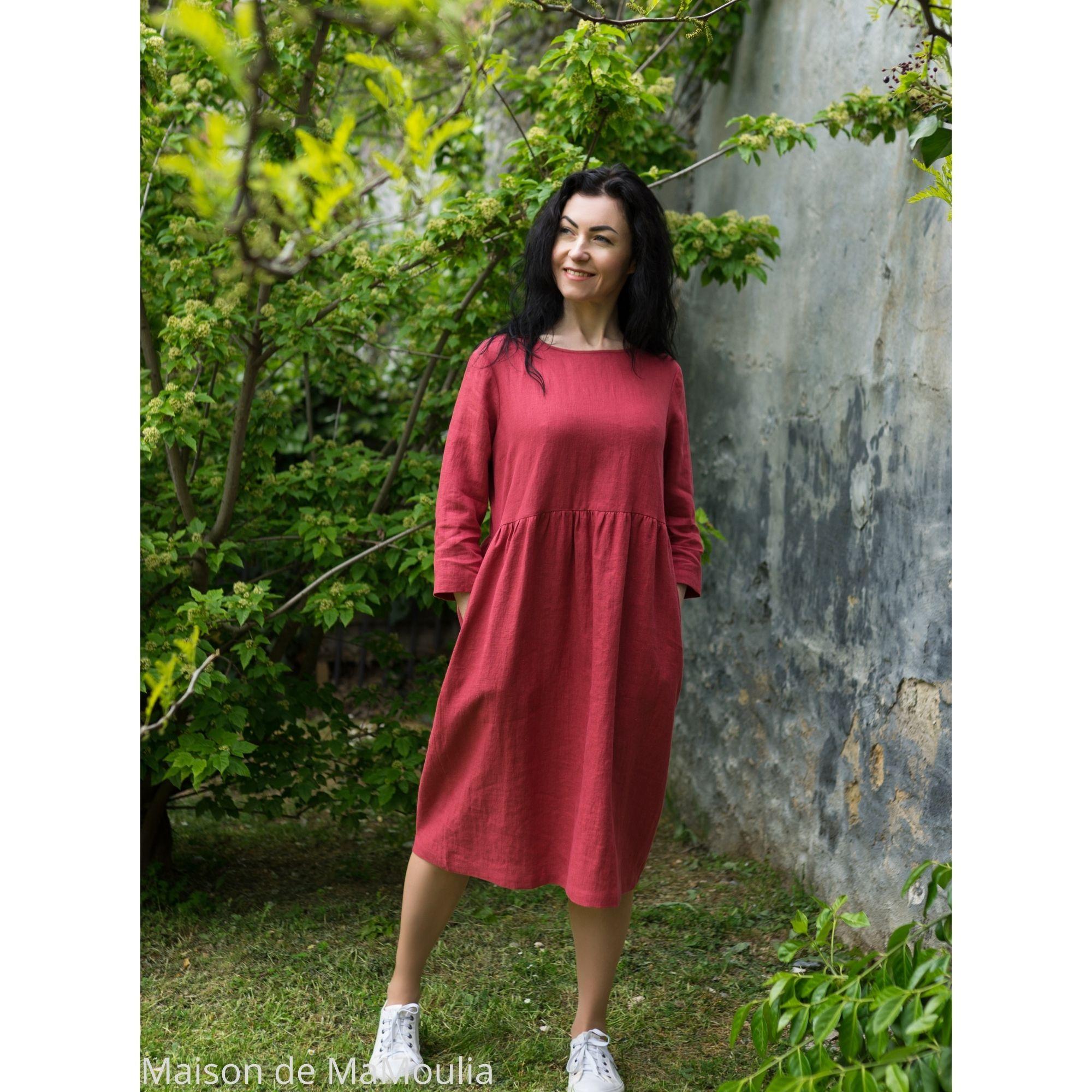 OFFON - Robe ample midi - 100% lin lavé - Rose framboise