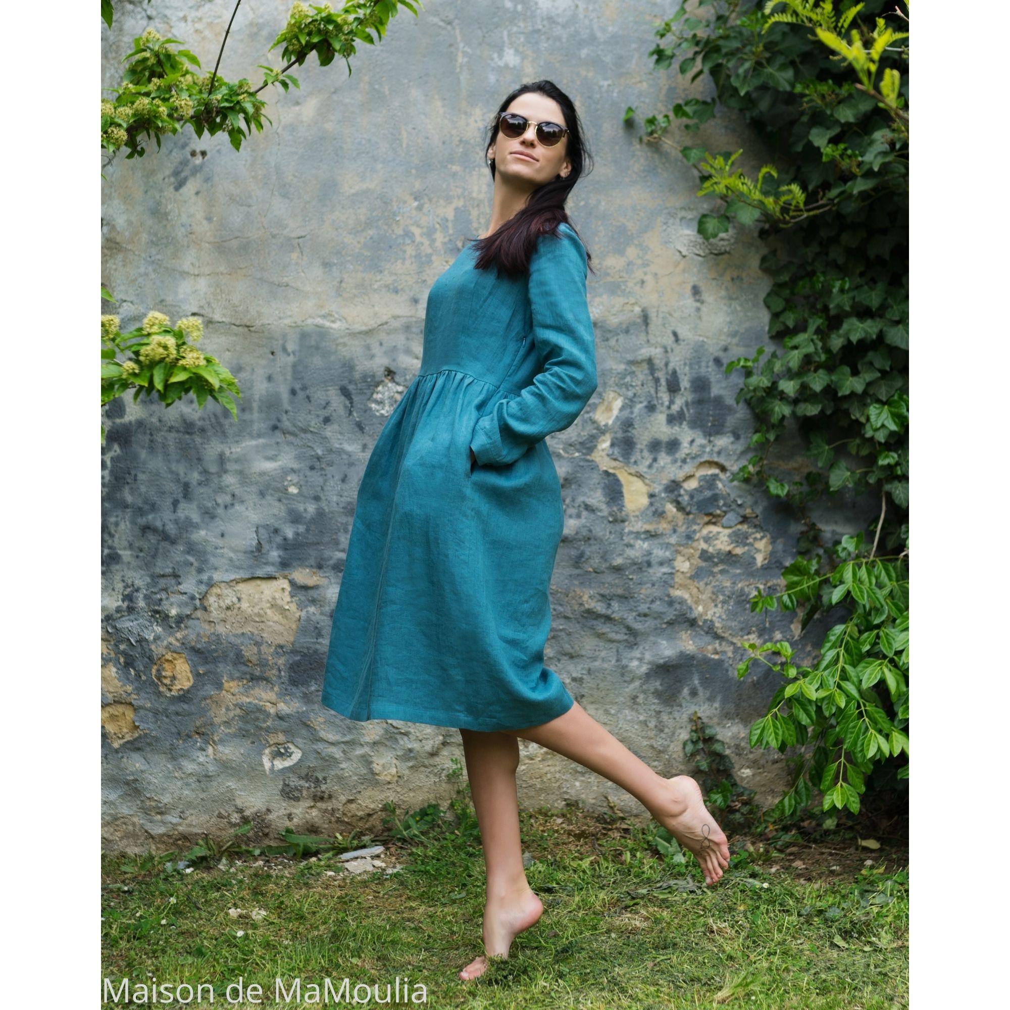 OFFON - Robe ajustée midi - 100% lin lavé - turquoise clair